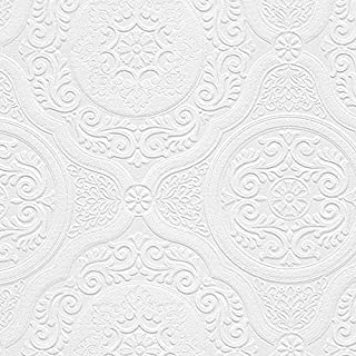 Norwall NW48932 Carter Series Vinyl Textured Paintable Floral Scroll Boarded Square Design Large Wallpaper Roll, 21