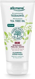 alkmene Teebaumöl 3in1 Reinigung Peeling Maske - Anti Pickel, Hautunreinheiten & Rötungen - vegane Gesichtspflege ohne Silikone, Parabene & Mineralöl - Gesichtsreinigung 1x 150 ml