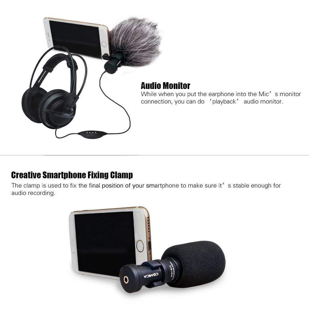 Comica CVM-VS08 Condensador cardioide Profesional Micrófono de Escopeta direccional para Smartphones, micrófono de vlogging para iPhone y Video de Youtube (Wind Muff Incluido): Amazon.es: Oficina y papelería
