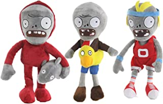 "LZQ Plants Vs. Zombies 1 2 Stuffed Plush Toy 8"" Tall for Children, Geart Gift for Halloween, Christmas (Set of 3 Zombie C)"