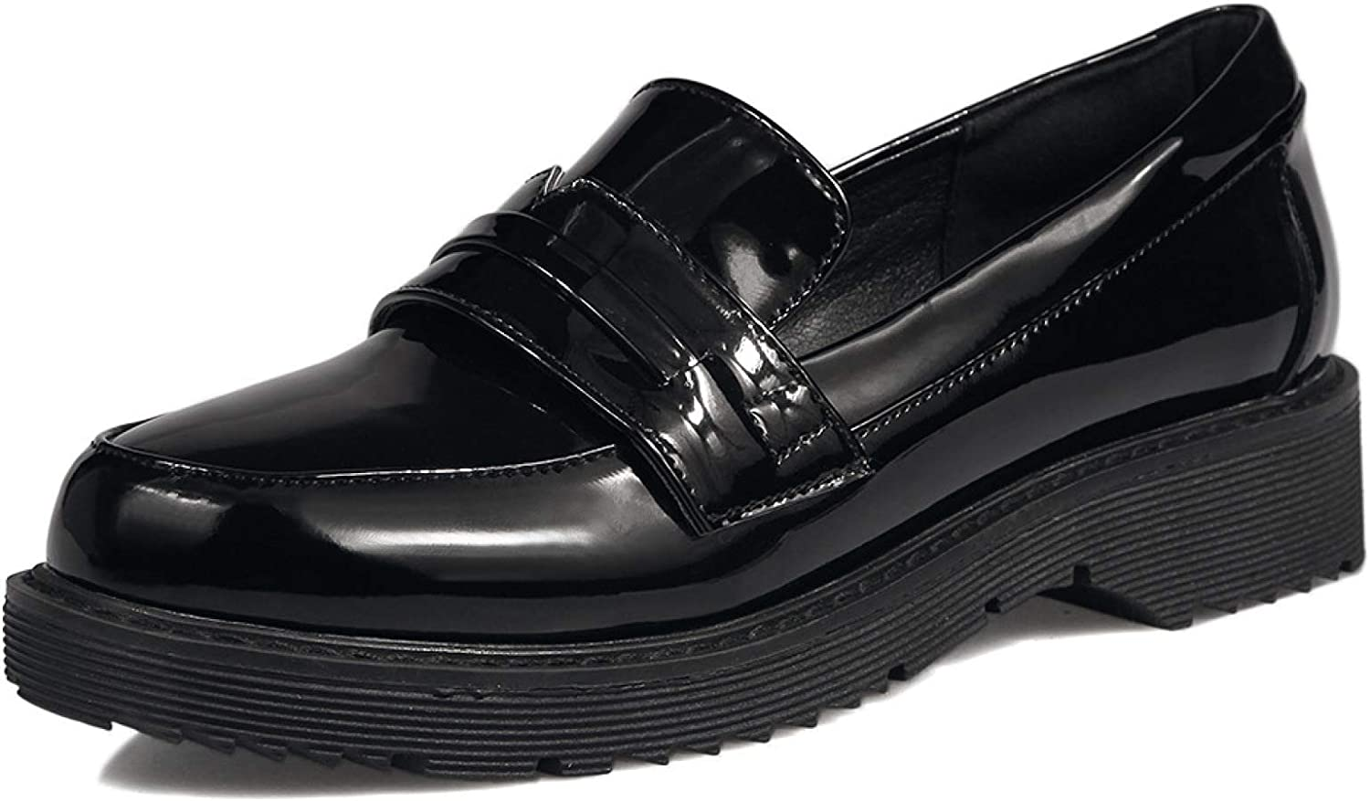 Women's Penny Loafers Leather Low Heel Casual Office Work School Pump Classic Slip On Platform Dress Shoes