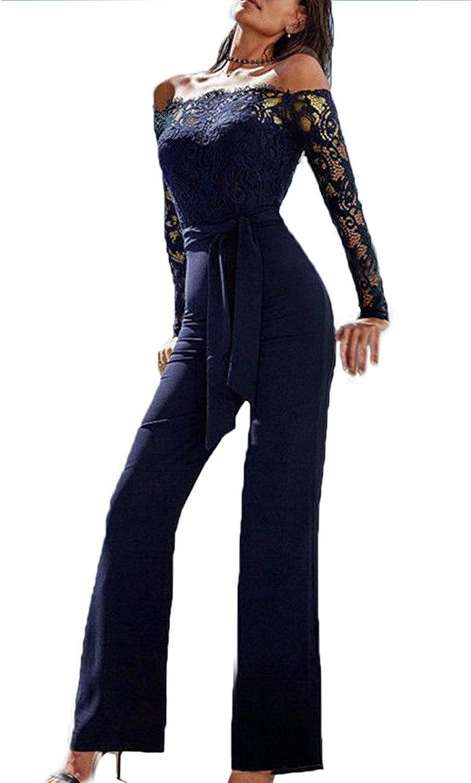 ShangSRS Elegant Damen Jumpsuit mit Spitze N/ähte mit Schmetterlings Lang Jumpsuit Playsuit Party