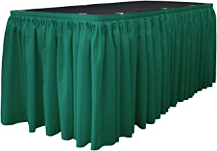 LA Linen LA Linen Polyester Poplin Table Skirt 21-Foot by 29-Inch Long with 15 L-Clips, Teal