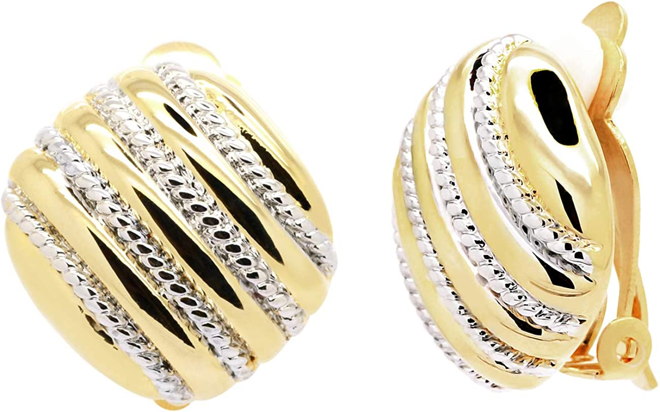 Clip on Earrings Gold Plated Two Tone Braided Rope Accent Women Fashion