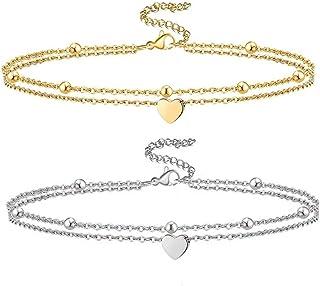 2 قطع القلب خلخال سوار للنساء أنيق طبقات الخرز القلب الذهب الكاحل أساور سلسلة القدم شاطئ مجوهرات مجموعة