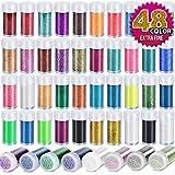 Teenitor 48 Colors Glitter Set, Fine Glitter for Resin, Arts and Craft Supplies Glitter, Festival Glitter...