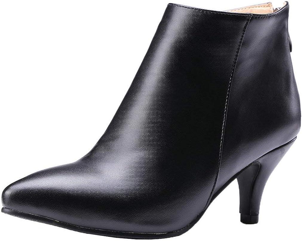 KOKOMOMO 保障 Womens Kitten Heel Booties Zip Ankle 感謝価格 Toe Boot Up Pointy