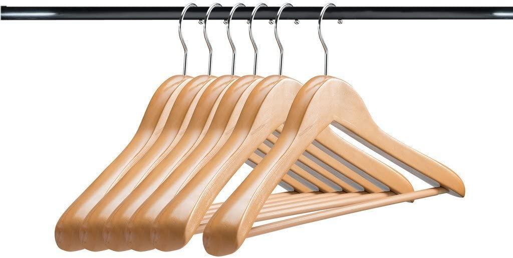 A1 Hangers Natural Wooden Set Thick Clothes 6 of Extra Challenge the lowest price Sale special price