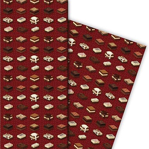Kartenkaufrausch lekkere bonbons cadeaupapier set met bloemenpatroon als edele geschenkverpakking, designpapier, scrapbooking, 4 vellen, 32 x 48 cm, rood