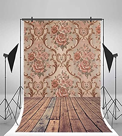 Leowefowa 3X5FT Retro Flowers Pattern Backdrop Shabby Chic Floral Damask Wallpaper Backdrops for Photography Rustic Stripes Wood Floor Vinyl Photo Background Kids Baby Studio Props