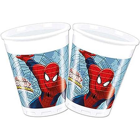 Procos 85153–Gobelets Plastique Ultimate Spider Man Web Warriors, 200ML, 8pièces, Rouge/Bleu/Bleu Clair