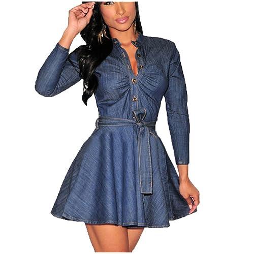 03889c49062 Momtuesdays2 Women s Long Sleeve A-line High-Low Denim Casual Dress Cowboy  Jumpsuit