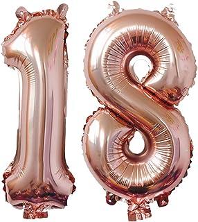 Meowoo 18e verjaardag ballonnen 40 inch feestversieringen ballonnen, nummer 1 inch en 8 inch folie helium ballonnen voor 1...