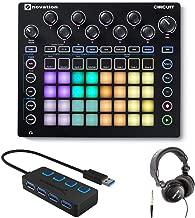Novation Circuit Groove Box Drum Machine Bundle with Headphones and 4-Port 3.0 USB HUB