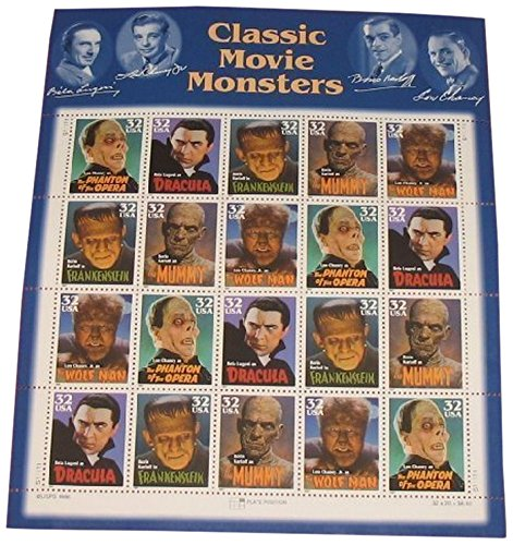 USPS Classic Movie Monsters Collectible Stamp 32 Cent Sheet Scott 3168