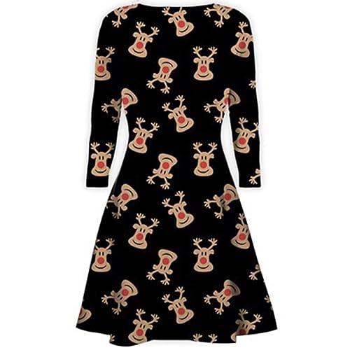 5af2404811ef5 Womens Christmas Dresses Ladies Long Sleeve Olaf Santa Novelty Stocking Xmas  Swing Plus Size