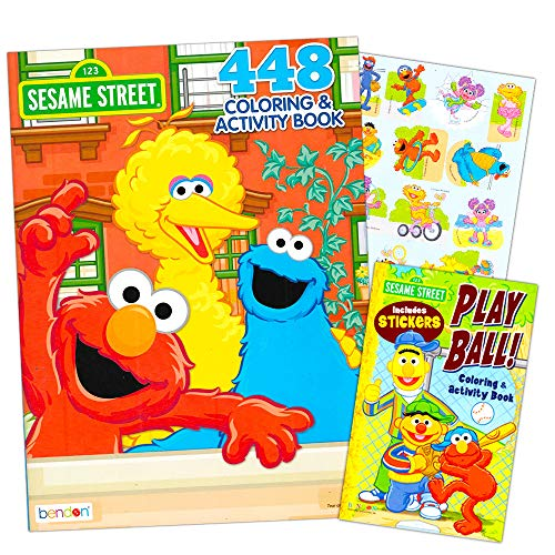 Sesame Street Elmo Coloring Book Super Set Bundle with 2 Sesame Street Books and Stickers ~ Over 600 Pages Featuring Elmo, Cookie Monster, Big Bird and More