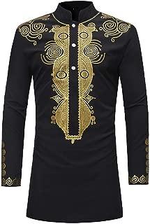 KJHSDNN Men's African Print Dashiki T-Shirt Stand Collar Long Sleeve Tops Shirts