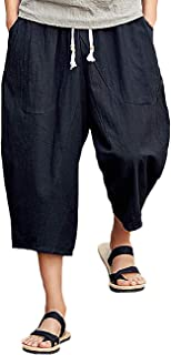 Rexcyril Men's Baggy Linen Capri Pants, Casual Loose Drawstring Harem Yoga Long Shorts with Pockets