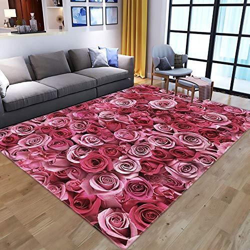 Alfombra,Nordic Modern 3D Rose Floral Print Area Alfombra Alfombra Shaggy Alfombra para Sala De Estar Dormitorio Alfombra Grande Y Esponjosa para Niños para Decoración del Hogar, 100 * 150