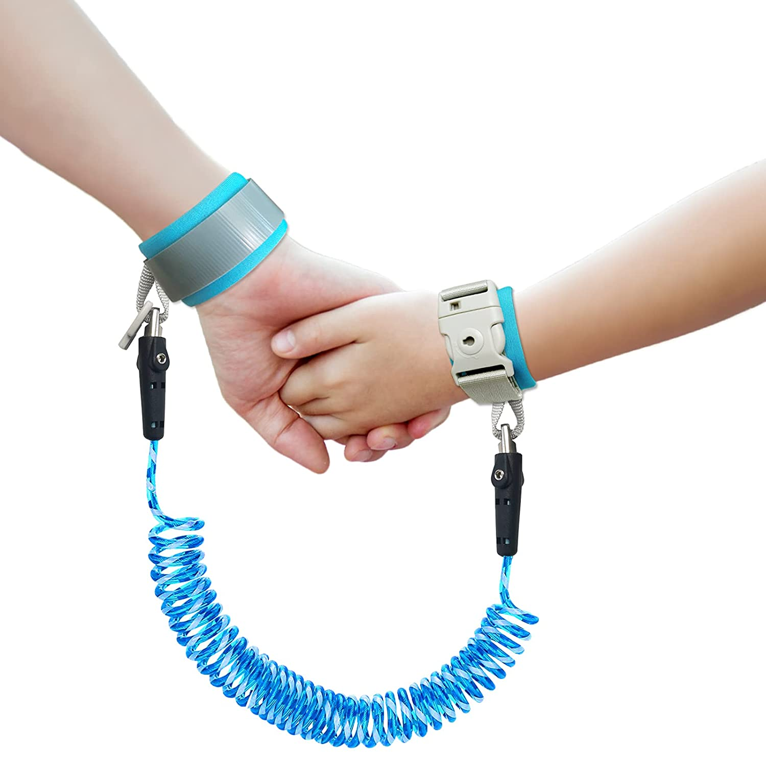 Anti Lost Wrist Link with Key Lock | Reflective Toddler Safety Wrist Leash for Toddlers, Babies & Kids Blue 8.2 feet