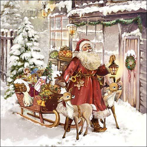 Pack de 20 servilletas de papel – 3 capas, 33 x 33 cm – Navidad Visit