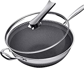 New Double-Sided Honeycomb Stainless Steel Wok Without Smoke Frying pan Non-Stick cookware Kitchen Saucepan Family Dinner