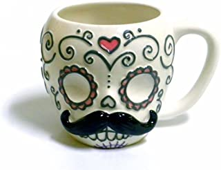 Sugar Skull with Mustache Ceramic Coffee Mug
