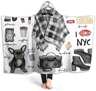 prunushome Hooded Blanket Fashion New York City Style Kids Huggable Pillow and Blanket Perfect for Pretend Play, Travel, nap time, 80W by 60H Inches