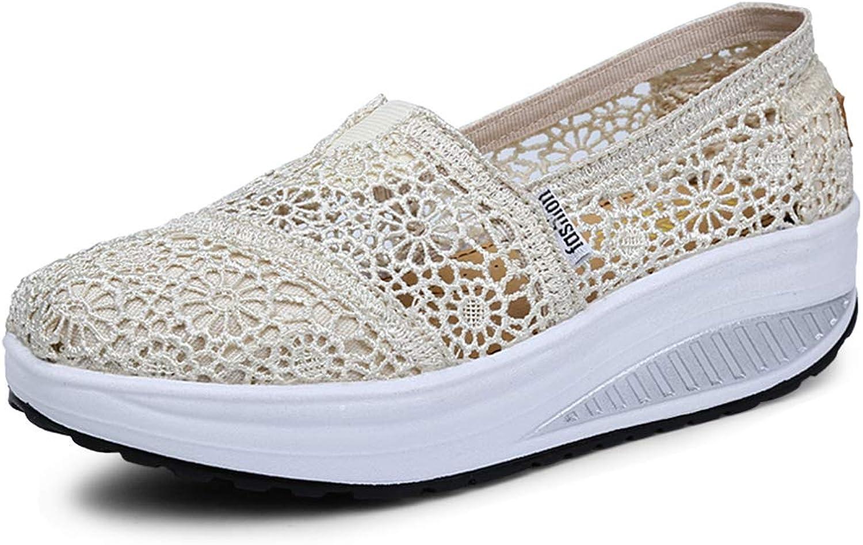 Katliu Women's Mesh Platform Walking shoes Lightweight Slip-On Fitness Work Out Sneaker shoes