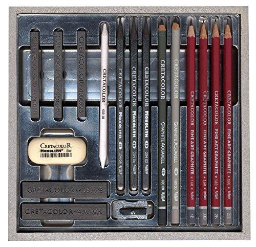 Cretacolor 400 17 – Graphite – caractères dans un coffret en bois, 17 pièces, argent