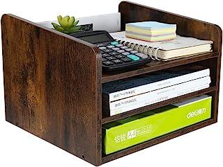 منظم ملف سطح المكتب الخشبي من PAG منظم بريد فارز مجلة رف ورق حامل هاتف مع درج قابل للتعديل، بني ريترو