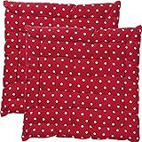 REDBEST Stuhlkissen, Stuhlauflage, Sitzkissen Punkte 2er- Pack, 100% Baumwolle rot Größe 40x40x3...