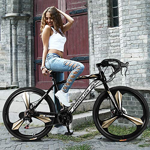 26 inch Road Bikes for Men Women 700c Bicycle Cycling with 21 Speed Disc Brakes&Full Suspension Black