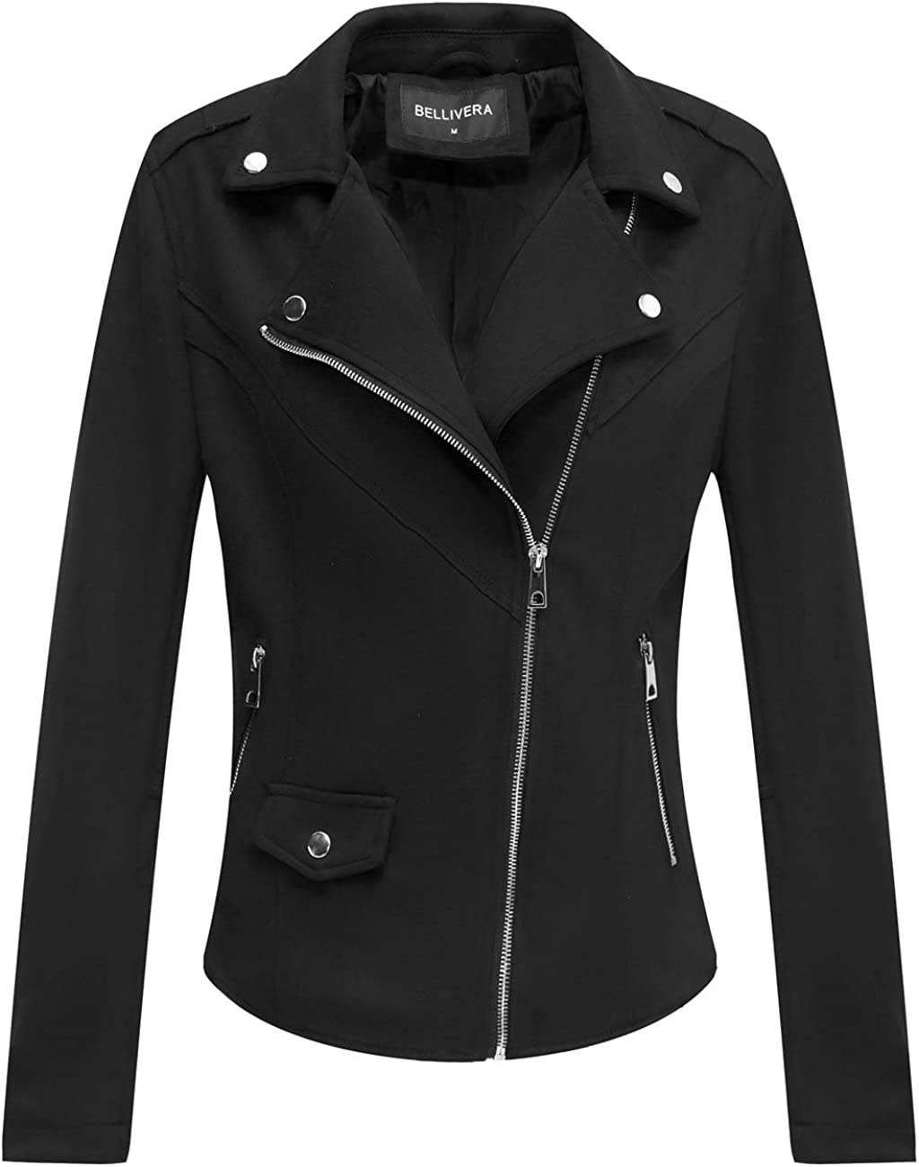 Bellivera Faux Suede Jackets for Beauty products Women Short Moto service Biker wi Coat
