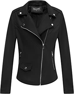Faux Suede Jackets for Women, Moto Biker Short Coat with 2 Pockets