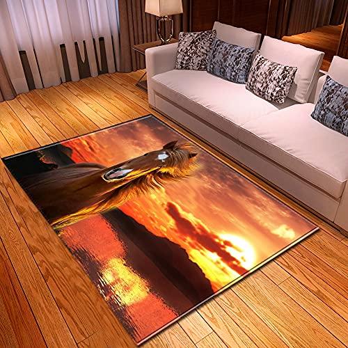XuJinzisa Animal Caballo Paisaje 3D Impresión Alfombra Sala De Estar Dormitorio Hogar Antideslizante Decoración Suave Decoración del Hogar Alfombra 120X120Cm H17387