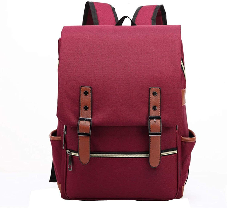 Campus Backpack Hiking Backpack Retro Outdoor Canvas Travel Backpack,LightGrey School Rucksack (color   Redwine)