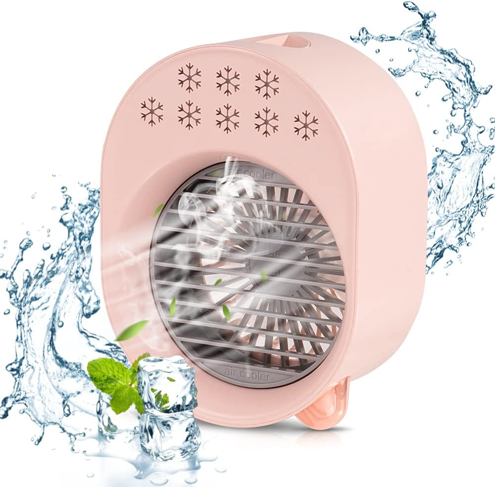 Portable Mini Air Cooler Fan,Quiet Humidifier USB Desk Fan with 3 Speeds 3 in 1 Desktop Personal Adjustable Fan, Air Cooling Fan with Automatic Color-changing Light for Office,Bedroom,Car and Home
