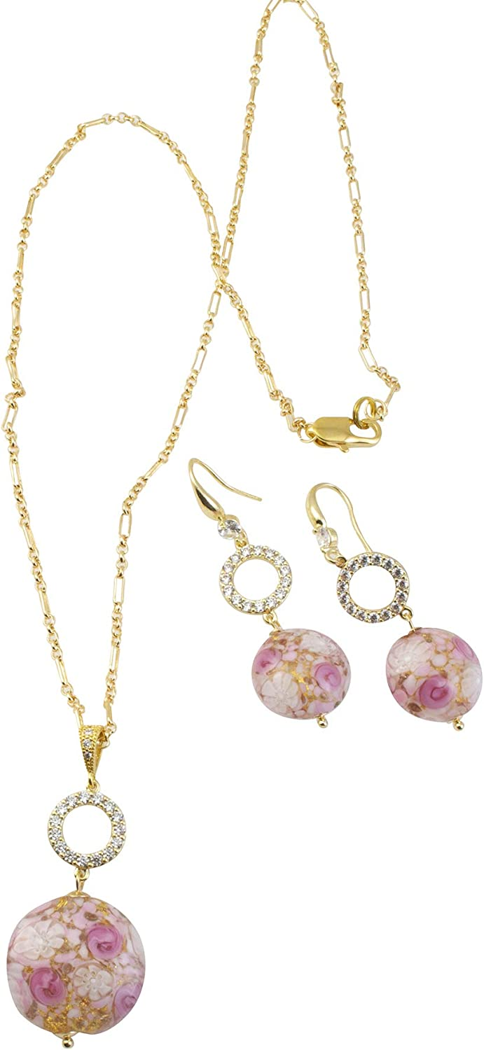 Just Give Me Jewels Gold Plated Genuine Murano Millifiori Pink Roses Disc Necklace and Earrings Jewelry Set