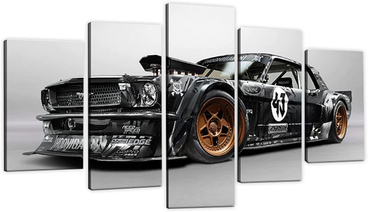 Ken Challenge the lowest price of Japan ☆ Block Regular store Hoonicorn Mustang Hoonigan 5 Panel Canvas Wall A Print