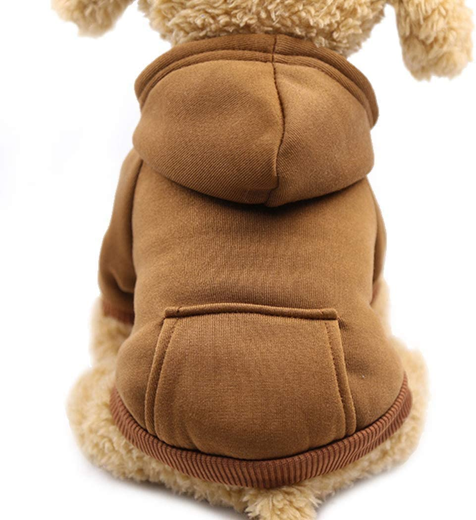 Idepet Dog Clothes Pet Dog Hoodies for Small Dogs Vest Chihuahua Clothes Warm Coat Jacket Autumn Puppy Outfits Dogs Clothing (M, WineRed)