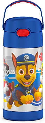 lowest THERMOS FUNTAINER 12 Ounce Stainless Steel wholesale Vacuum Insulated Kids high quality Straw Bottle, Blue Paw Patrol outlet online sale