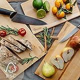 Juego de Tablas de Cortar para la Cocina – 4 Variaciones – Aprobado por FSC – Ecologicas Hechas de Madera de Abedul – Adecuadas para Cortar Pan Vegetales Frutas Carne Pescado