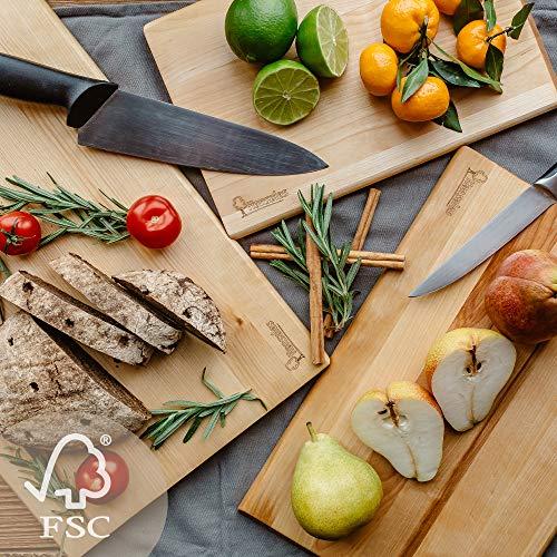 Hansales Lot de 3 Planches à Découper en Bois – 4 Variations – en Bouleau Écologique Certifié FSC – Idéal pour Couper Pain Légumes Fruits Viande Poisson