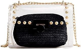Clear Purse, 2 in 1 Transparent Shoulder Bag Set Fashion Rivet Chain Strap PVC Handbags for Women Crossbody Bag