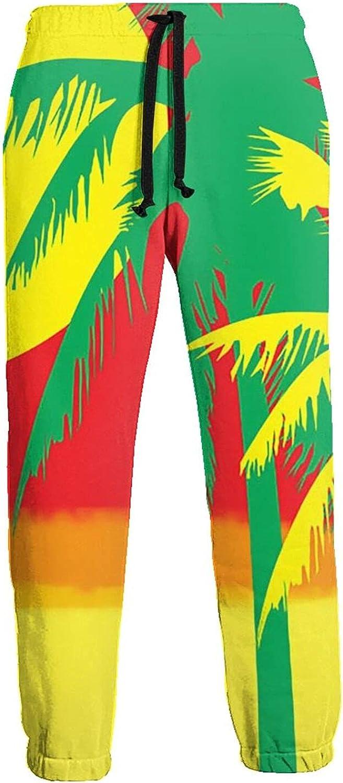 Mens Elastic Waist Sweatpants Rasta Jamaica Sunset Palm Tree Joggers Sweatpants for Gym Training Sport Pants