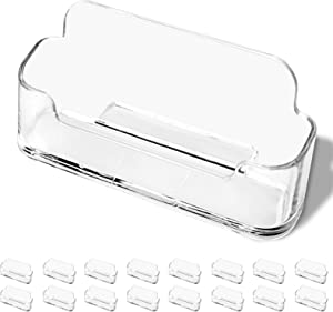 DMFLY 16 Pack Business Card Holder for Desk, Acrylic Business Card Holder Clear Plastic Business Card Stand Desktop Business Card Holders for Exhibition, Home & Office, Fits 30-50 Business Cards