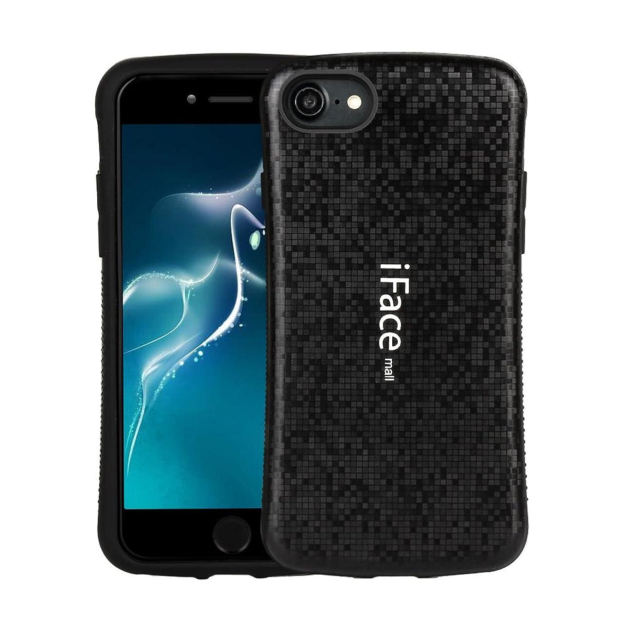 達成可能病気量で(Bidear)iPhone8ケース/iPhone7ケース iFace mallケース 全面保護 耐衝撃 カバー モザイク様式 指紋防止 黒