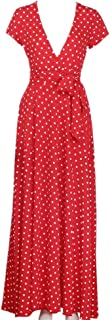 HGWXX7 Women Summer Bohomian Polka Dot Beach Evening Party Cocktail Long Dress
